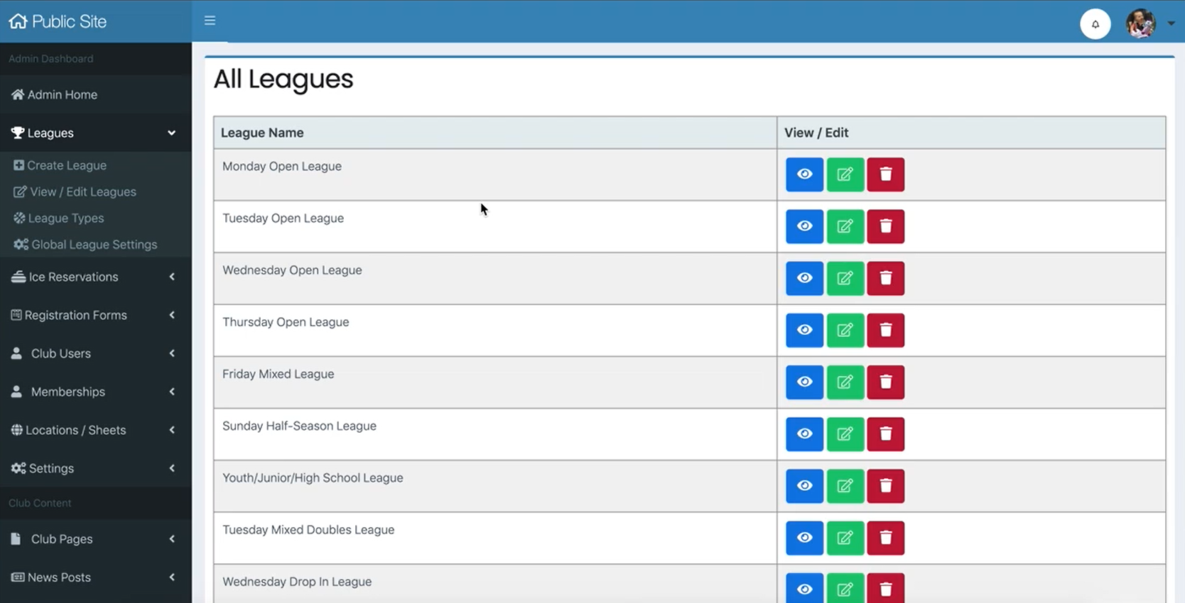 Sports Carnival league lists