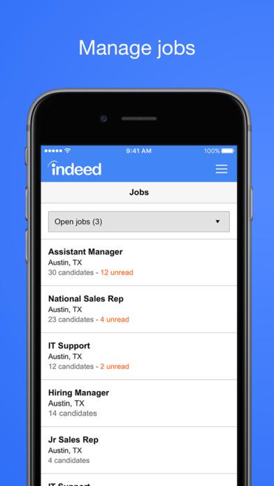 Manage all job listings via mobile device