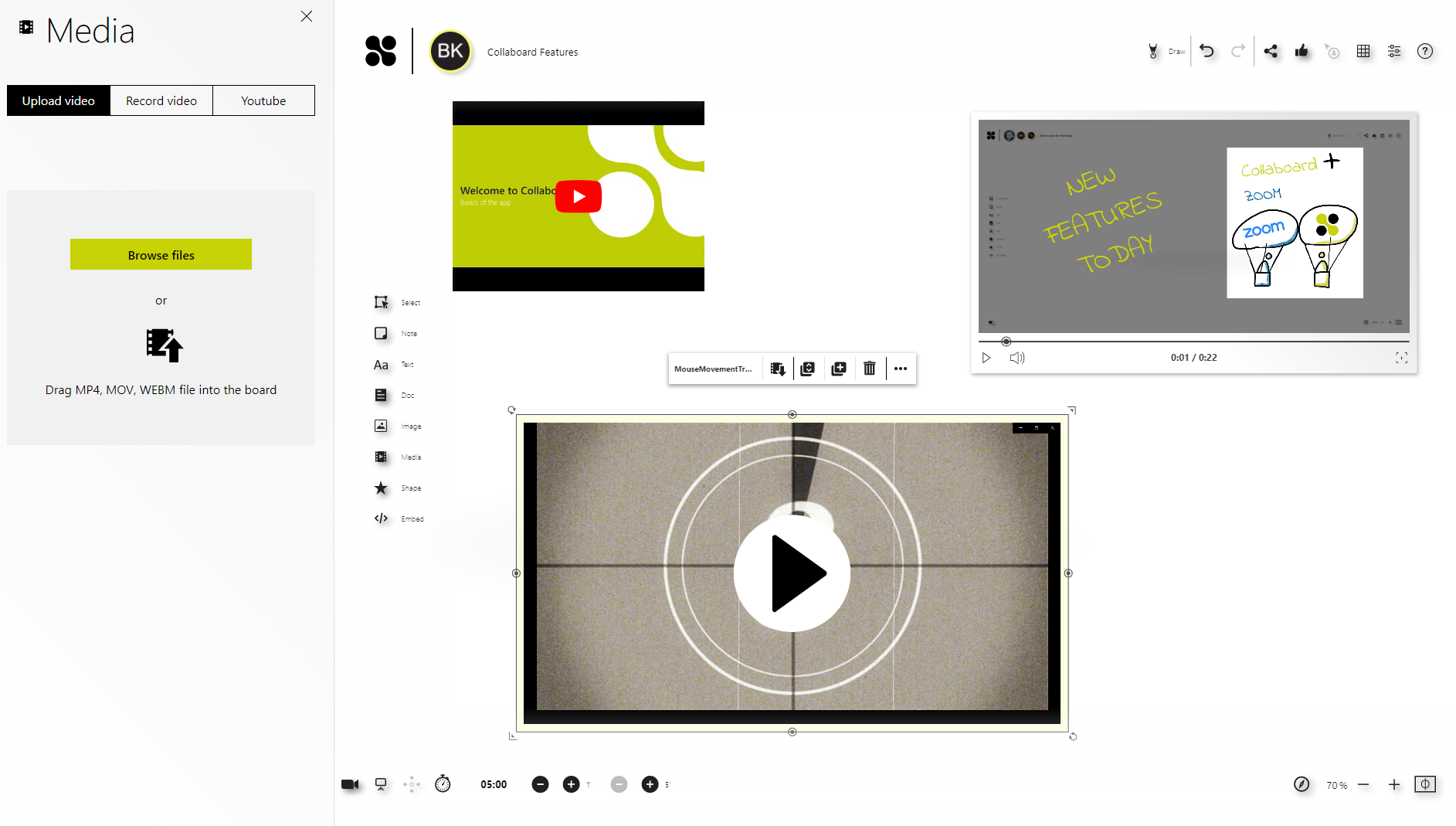 Videos directly on your board: Videos allows you to be concise and capture viewers' interest in the first few seconds.With Collaboard you can record videos directly from the whiteboard, upload videos from YouTube or from your computer.