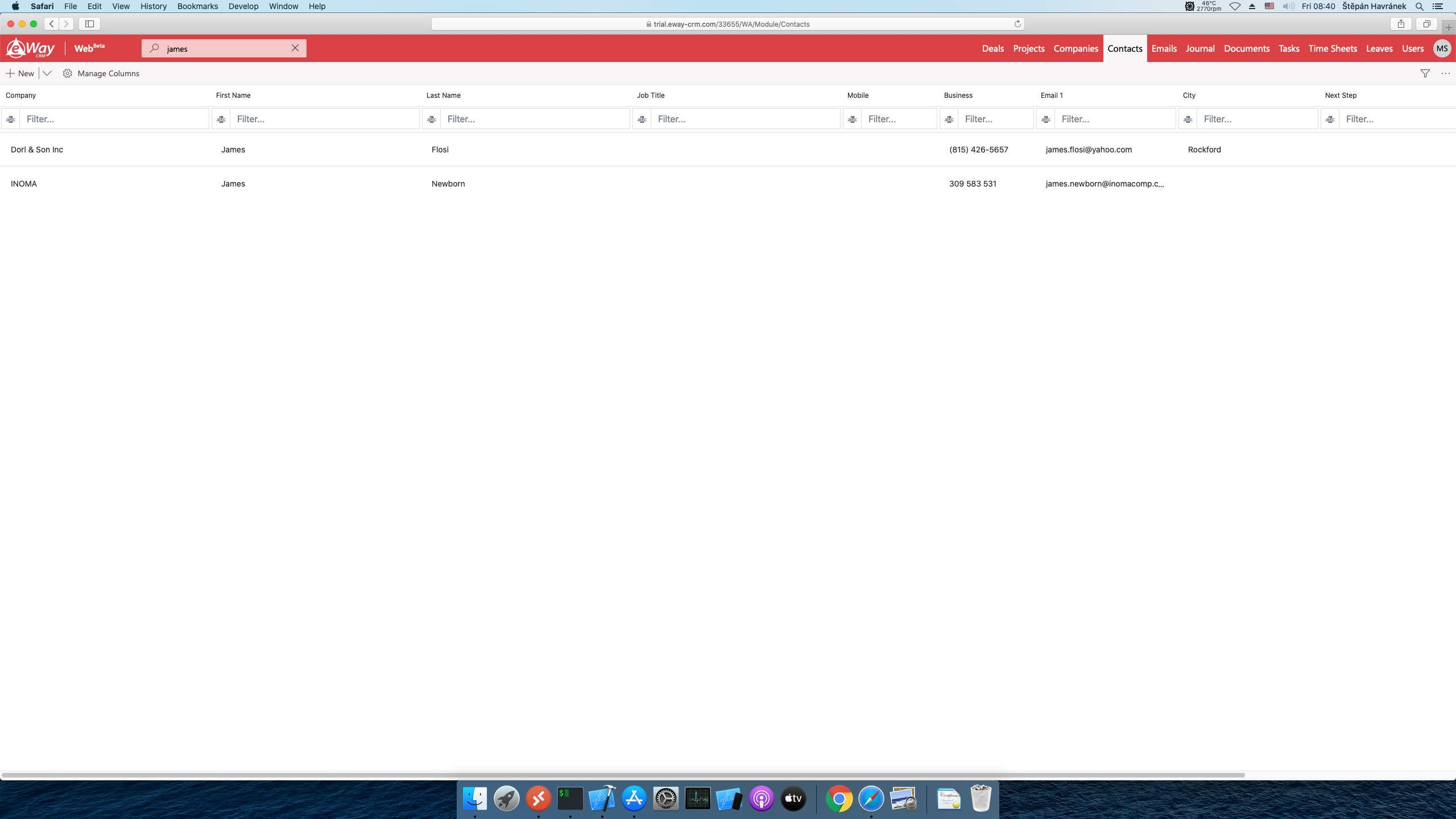 eWay-CRM contacts list