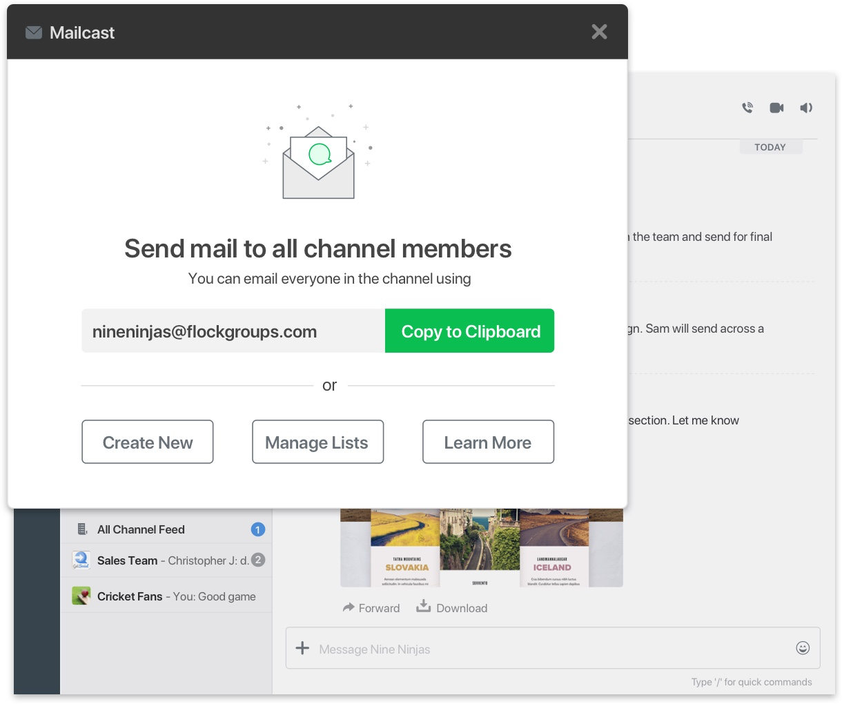 Email an entire channel in one go with Flock's auto-generated mailing lists