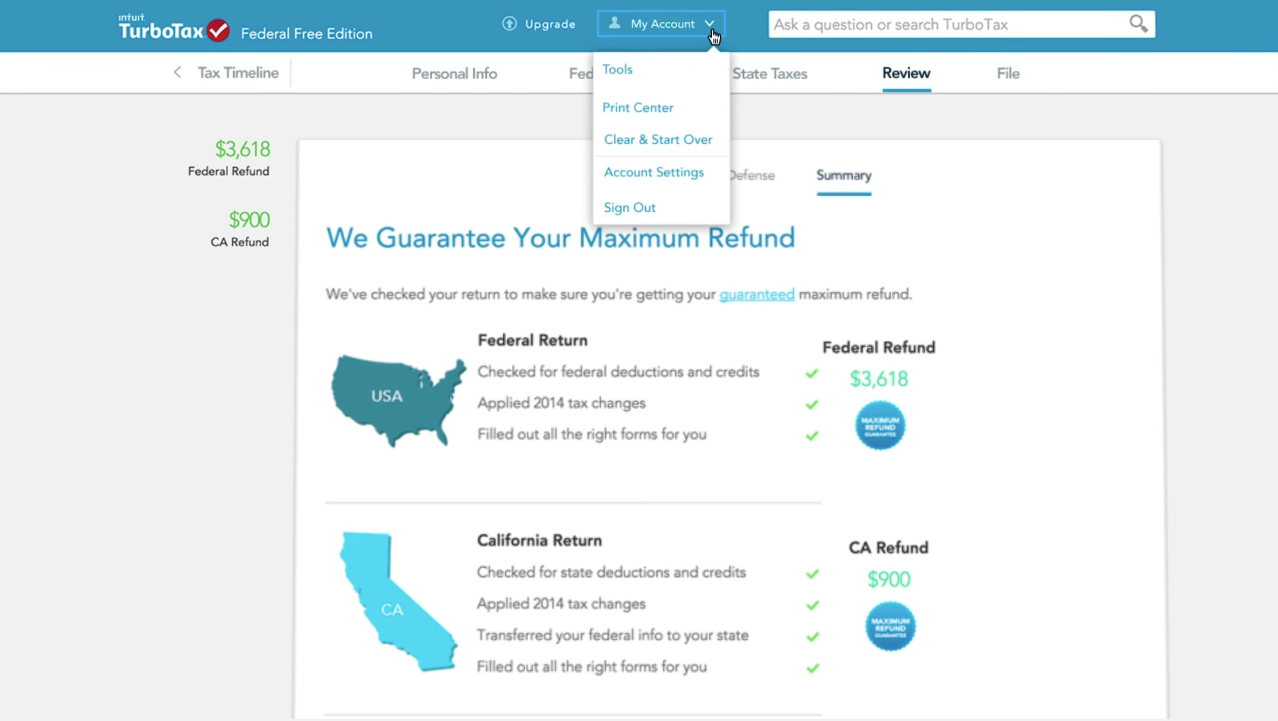 View a summary of returns and print, save or preview the year's return