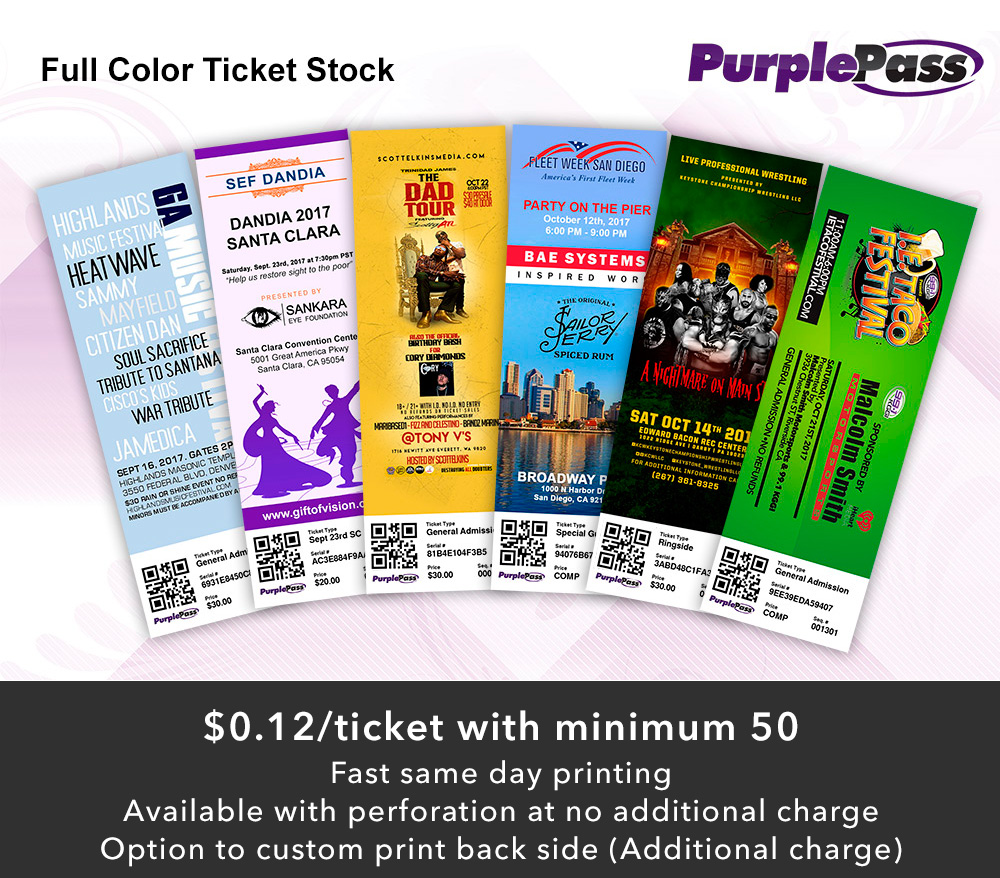 Full color custom ticket stock with barcodes printed in-house with same-day turnaround.