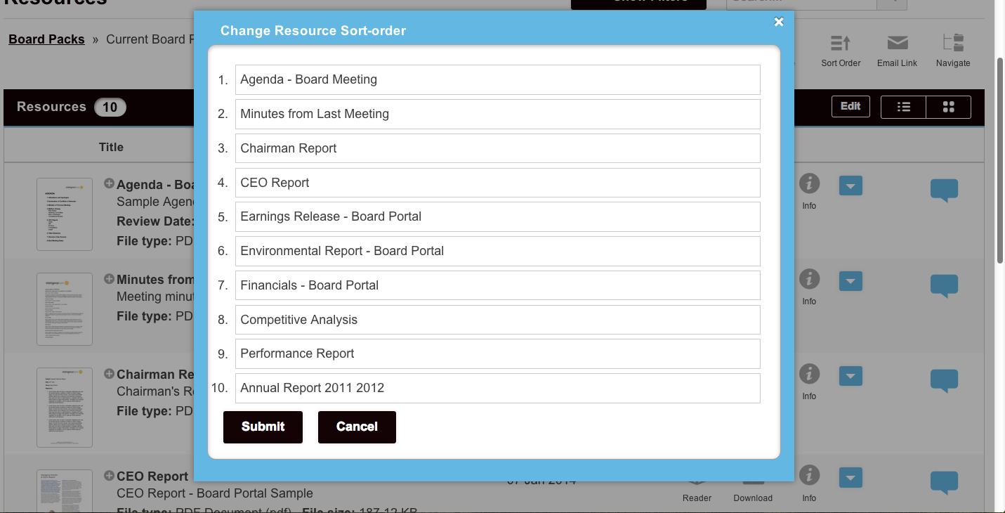 Custom Sort Order of board pack so files match order of agenda.