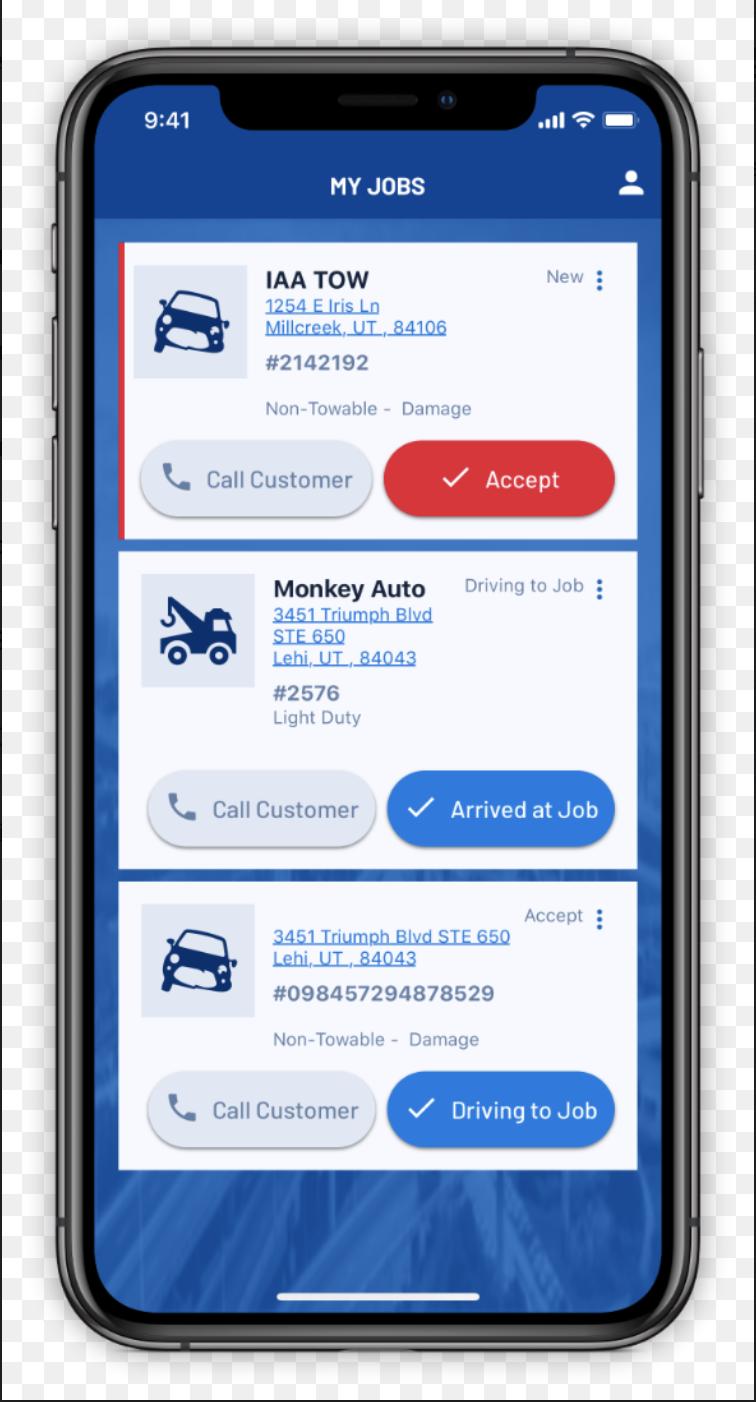 Driver app job card