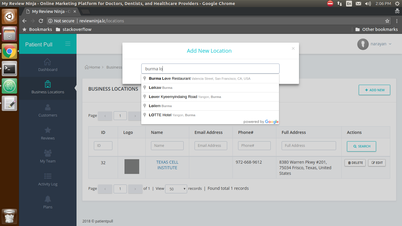 ReviewNinja Software - Add new locations