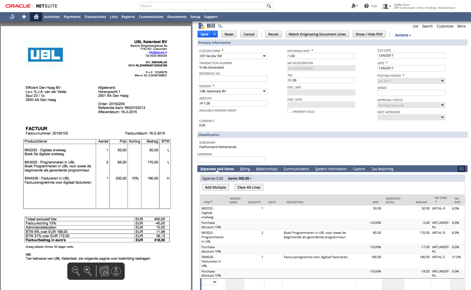 Users, Approvers and Auditors can view and manage transactions via split-screen.