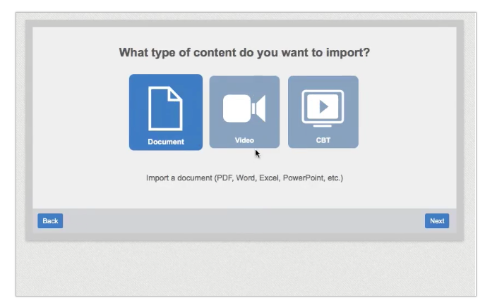 Use the import wizard to upload videos and documents