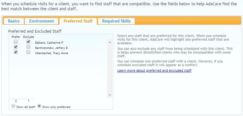 Client Preferences