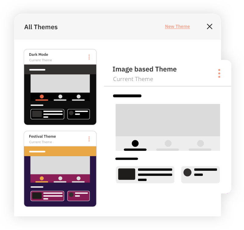 Hubilo Software - Brand your Event your Way - State-of-the-art branding capabilities for you to make a mark. Choose custom themes to suit the mood of your event, and provide a refreshing event experience, always.