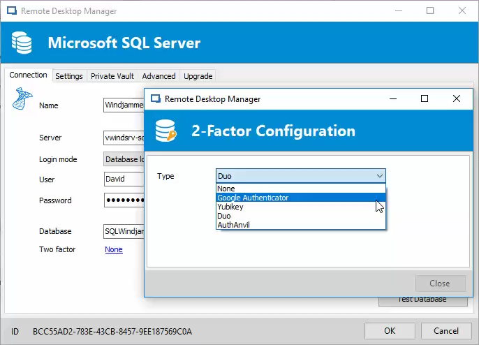 Remote Desktop Manager two-factor authentication