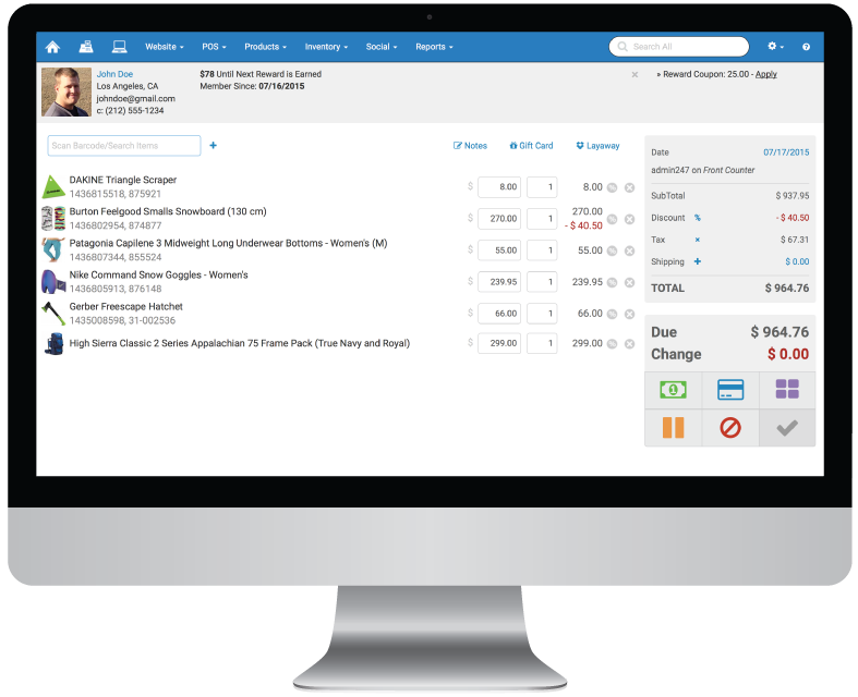 Rain Point of Sale customer details screenshot