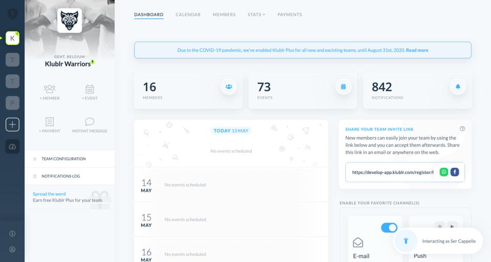 Klublr screenshot: Klublr team dashboard