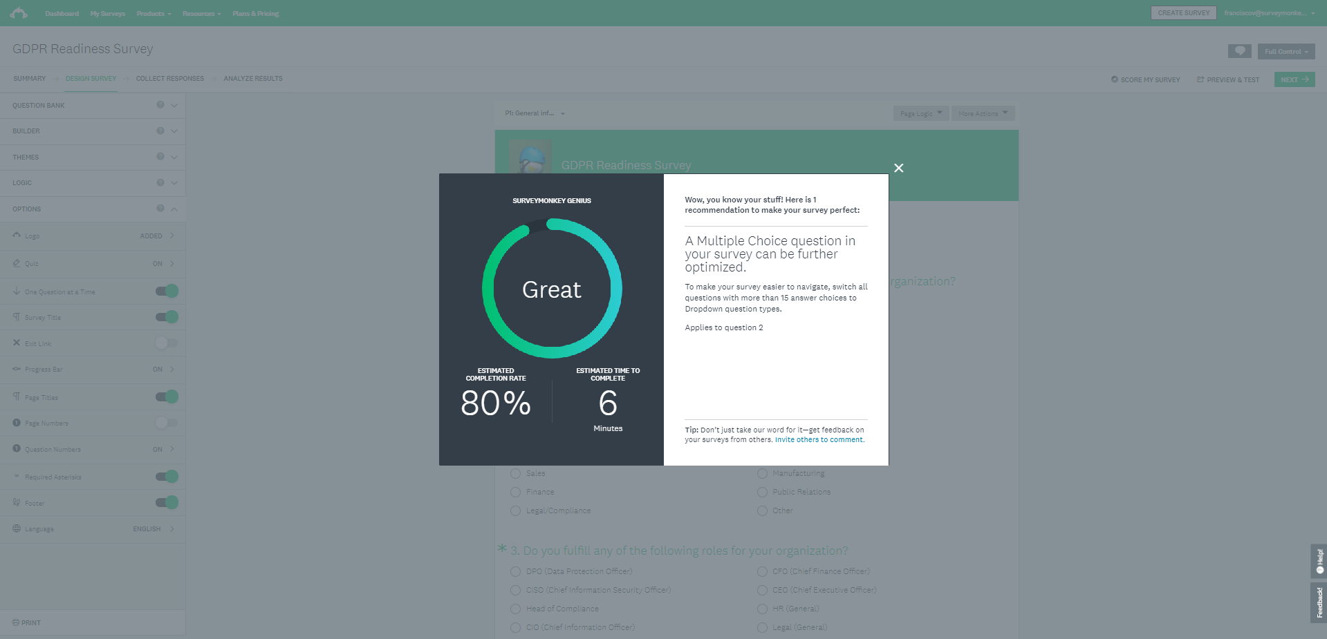 SurveyMonkey Software - Completion rate