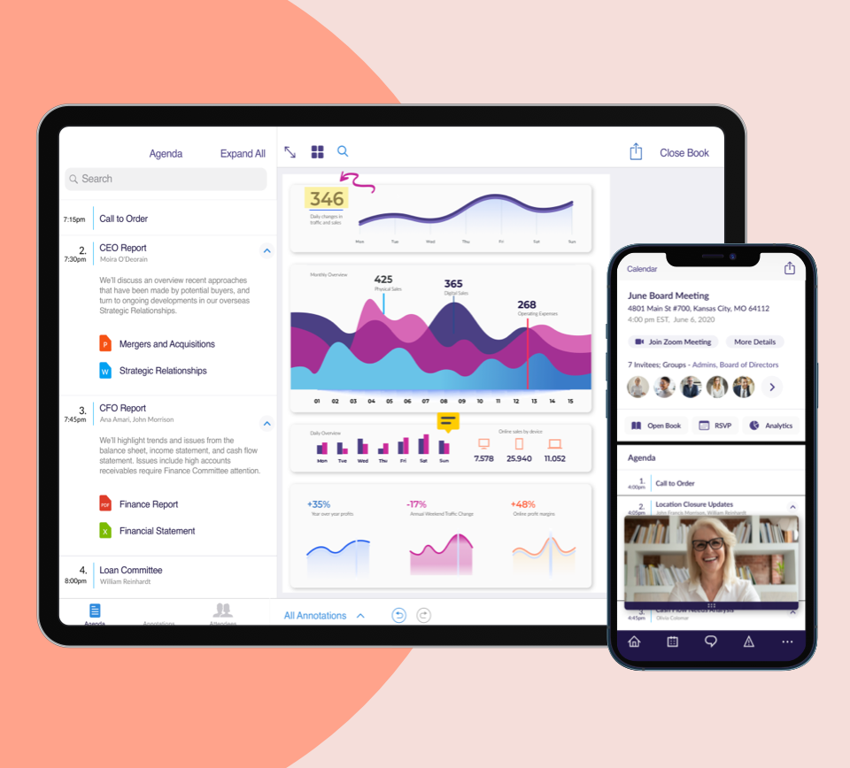 OnBoard screenshot: Zoom integration enables face-to-face, secure remote meetings directly within the platform – no need to download additional web conferencing apps. Engagement Analytics offers anonymized and aggregated real-time insights into how your board works.
