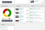 DealersLink screenshot: DealersLink Mobile dashboard provides a view of inventory health, ratings, search functionality and other applications within the suite.