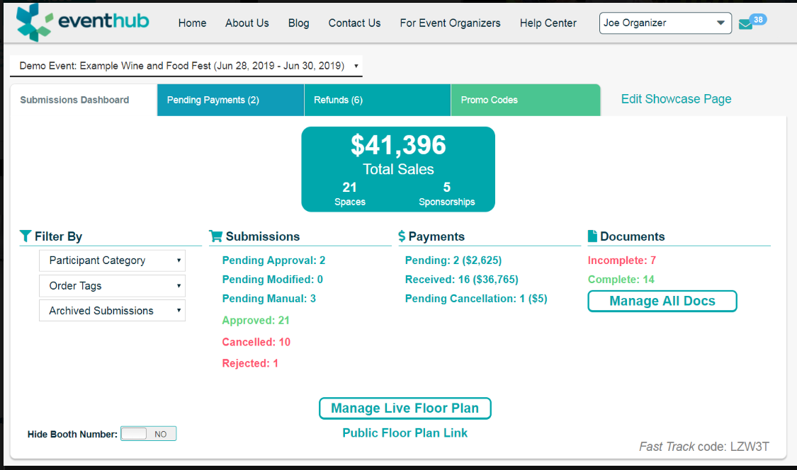 Submissions dashboard with details such as sales, pending payments, approvals, and more