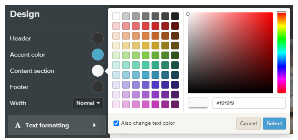 Webador design tab