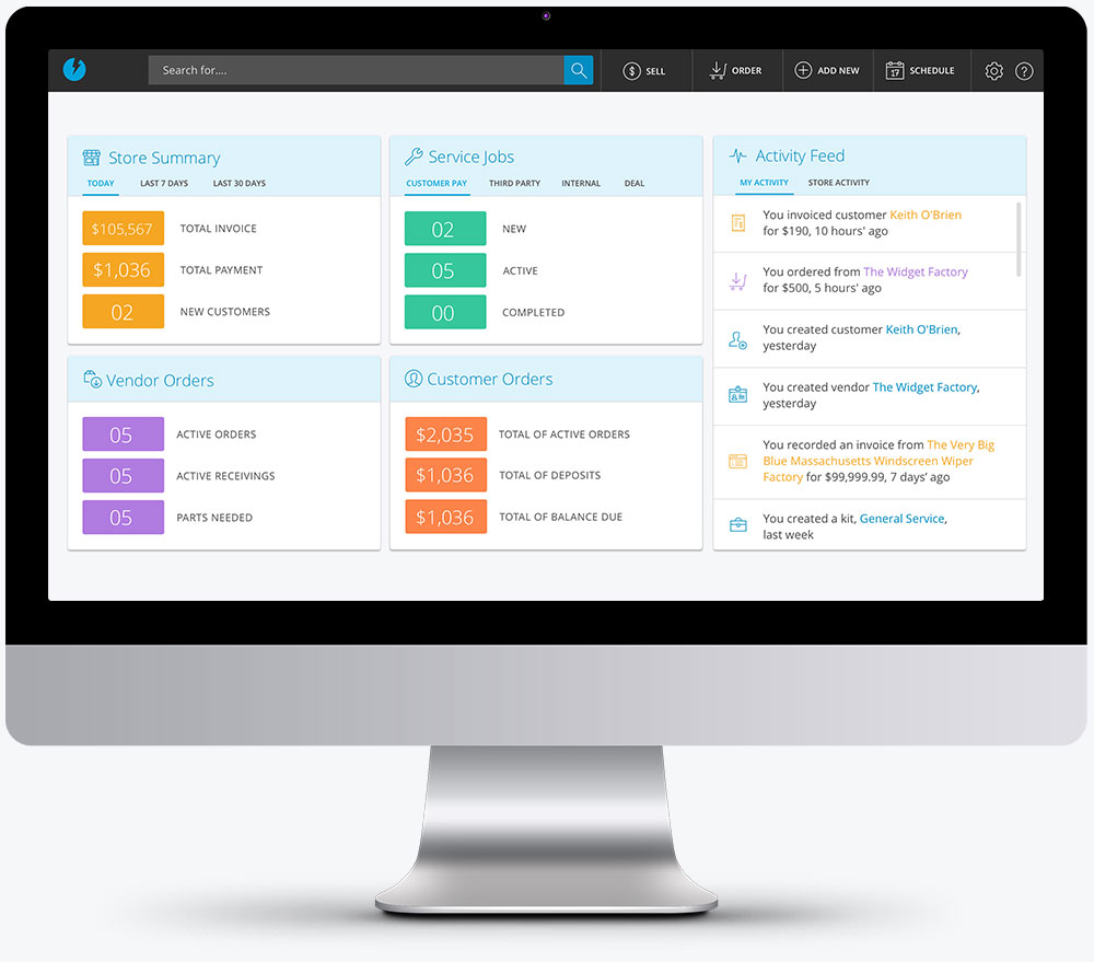 Interactive dashboard keeps you in touch with your business and team activity
