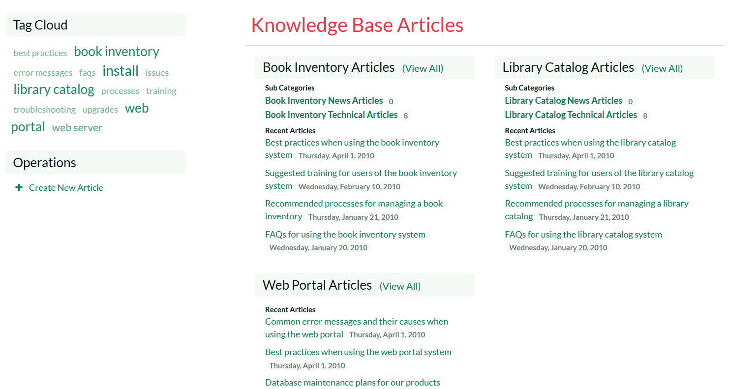 Integrated knowledge base of common problems and their solutons