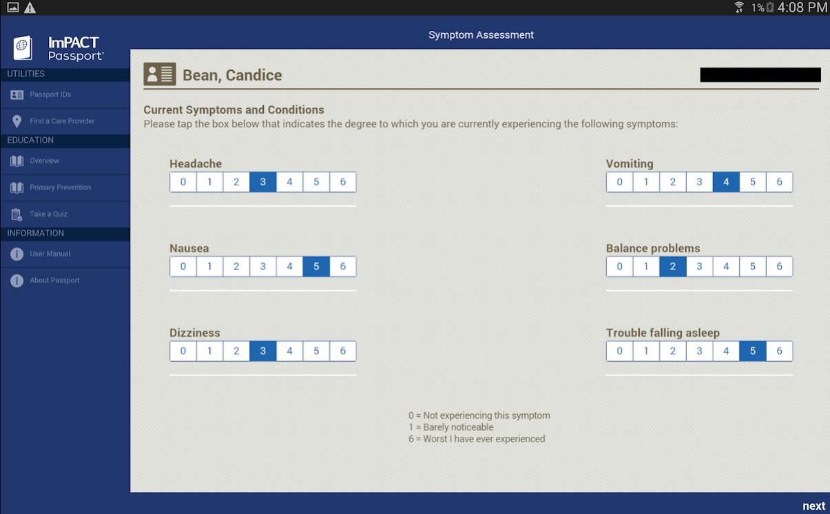 ImPACT symptom assessment