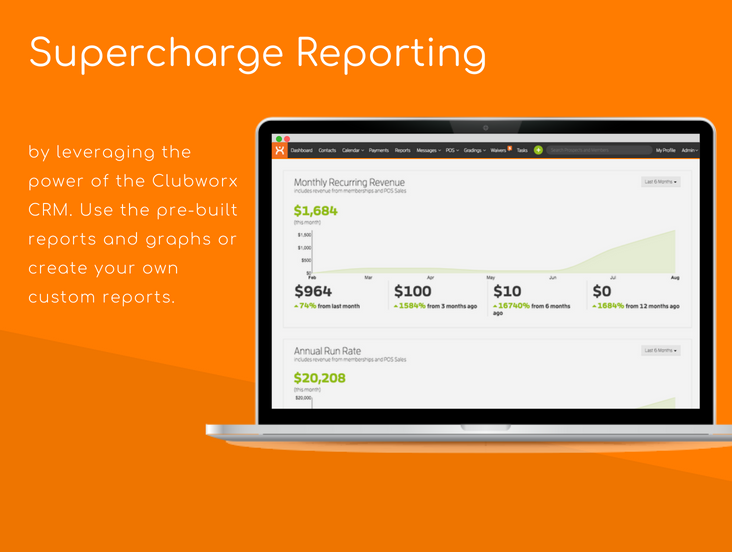 Supercharge reporting by leveraging the power of the Clubworx CRM. Use the pre-built reports and graphs or create your own custom reports.