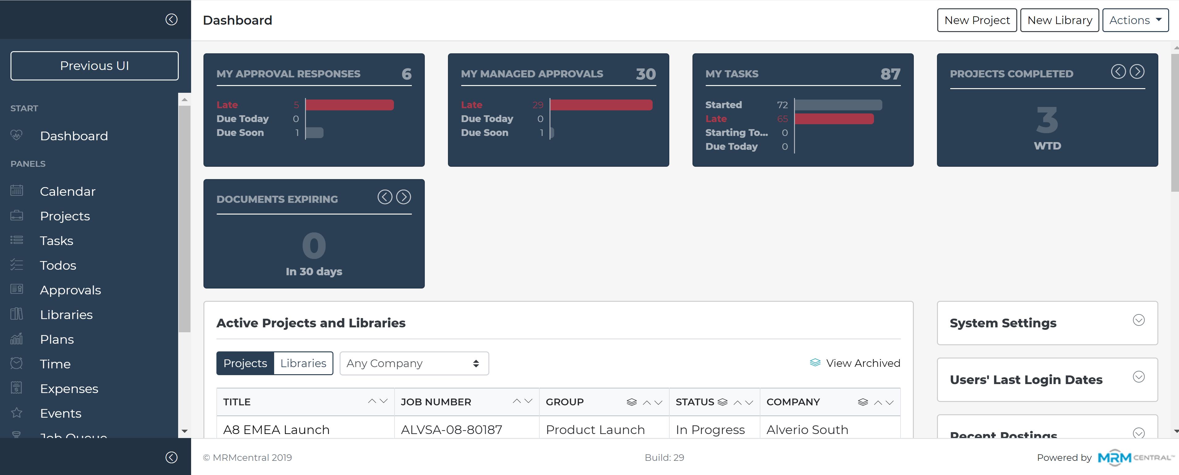 MRMcentral dashboard screenshot