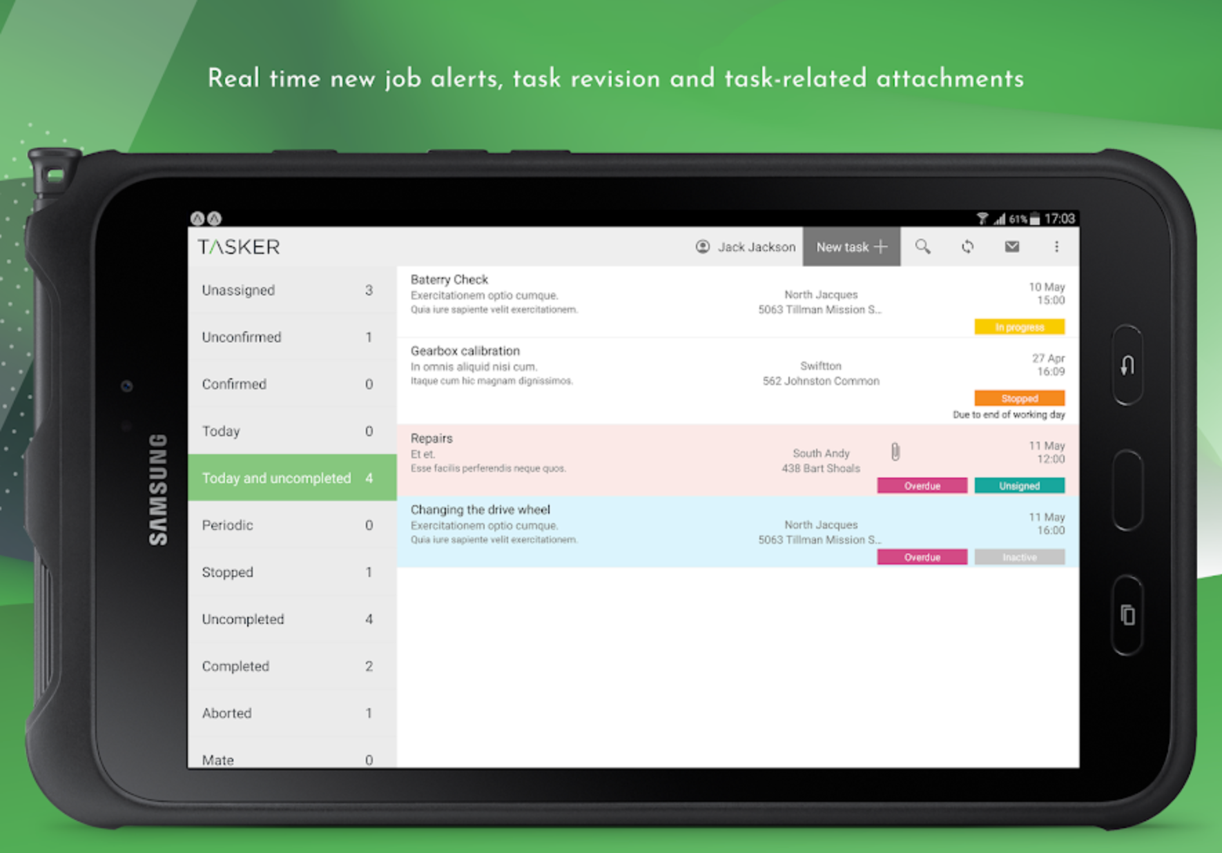 Get new job alerts in real time, as well as task revision and task-related attachments