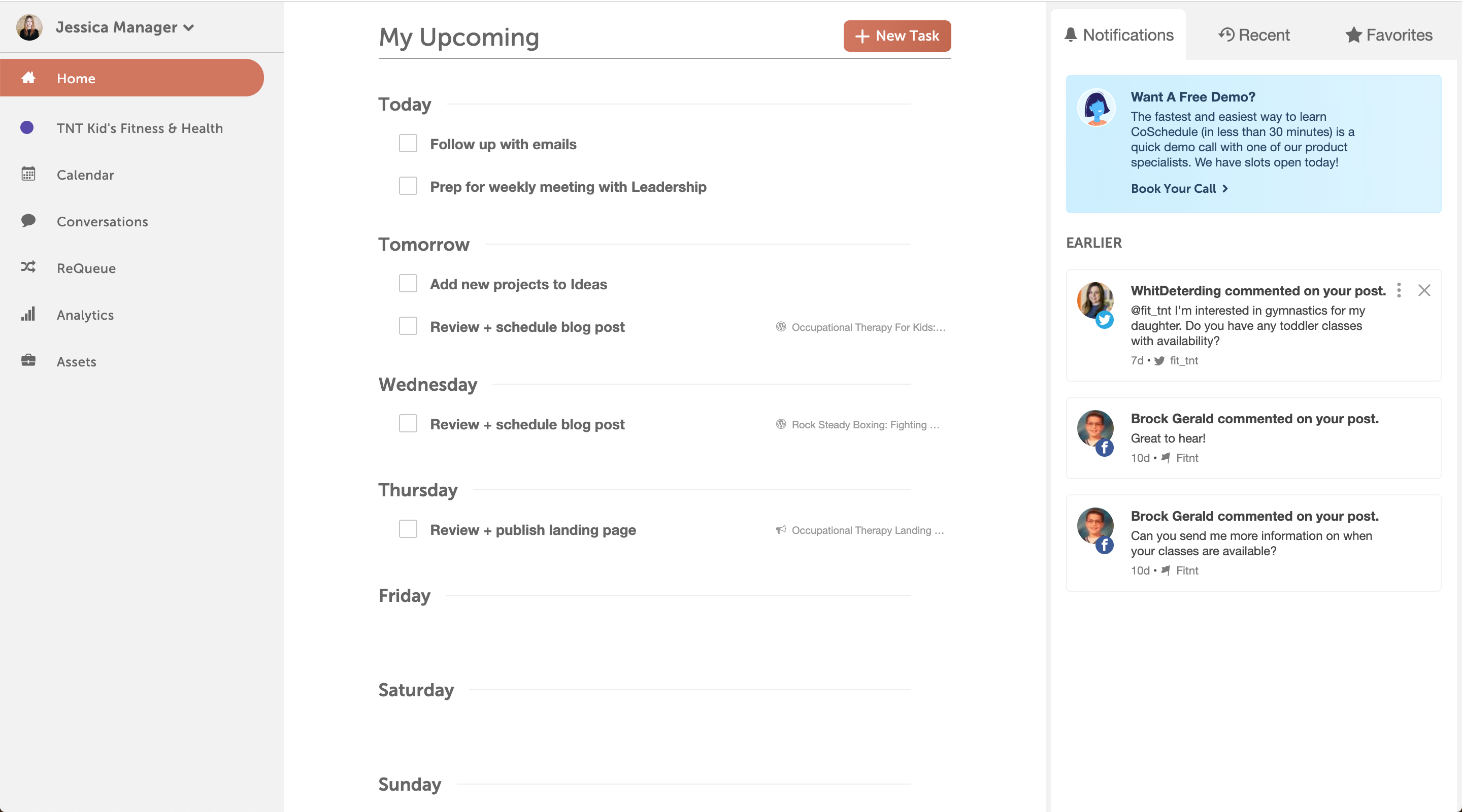 From Home, every CoSchedule user can review their unique priorities, projects, and tasks.  Manage, view, and reply to notifications. Focus on the work that matters most to you.