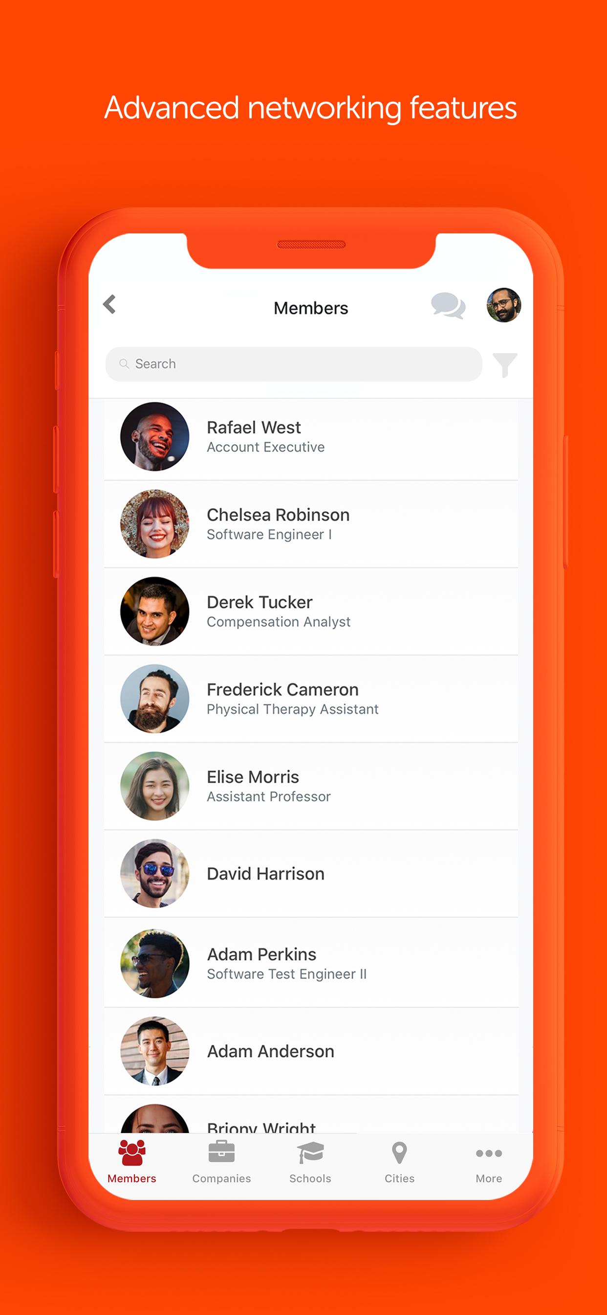 Raklet screenshot: Raklet: Search members via mobile