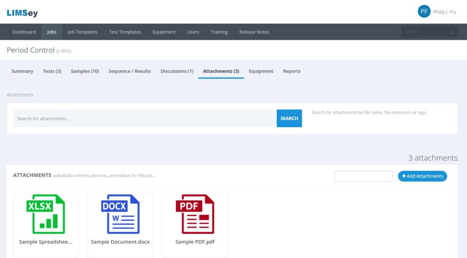 LIMSey job attachments screenshot