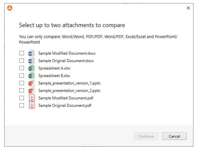 Select the file types to compare