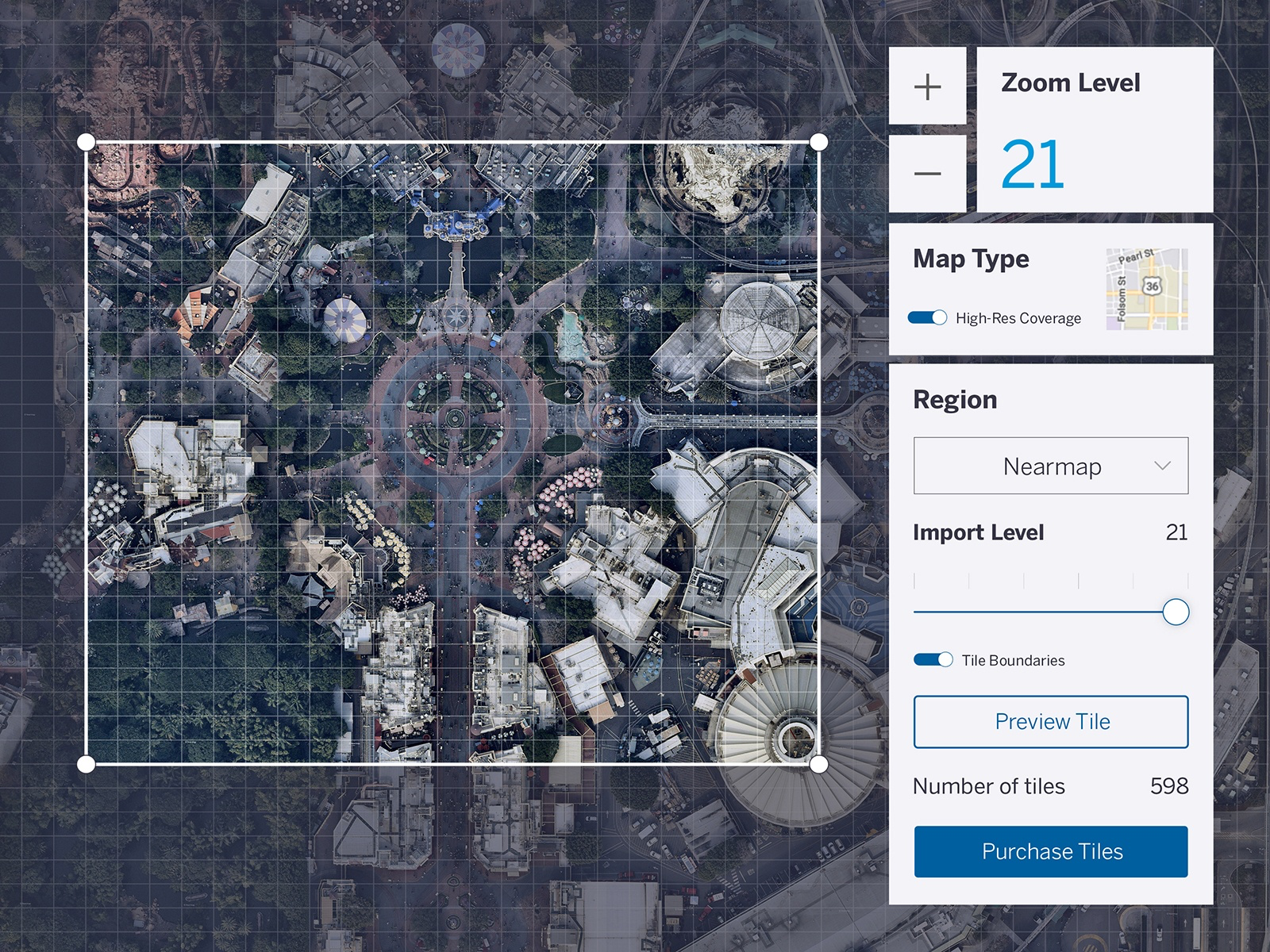 Add real-world context to your projects by importing high-resolution aerial imagery into your 3D models.