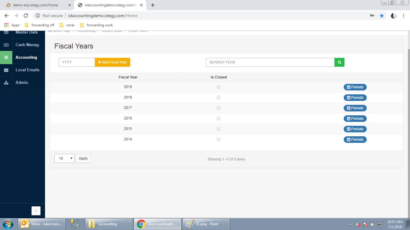 CloudWadi ERP fiscal years screenshot