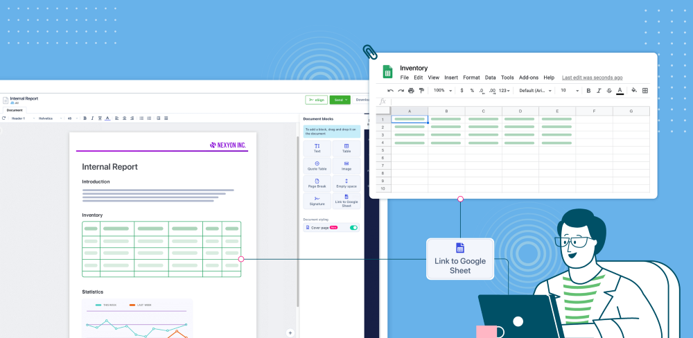 Import data from Google sheets Connect your google account to import data from the sheet into the document. Get the flexibility of Google sheets yet have all your data in one place.