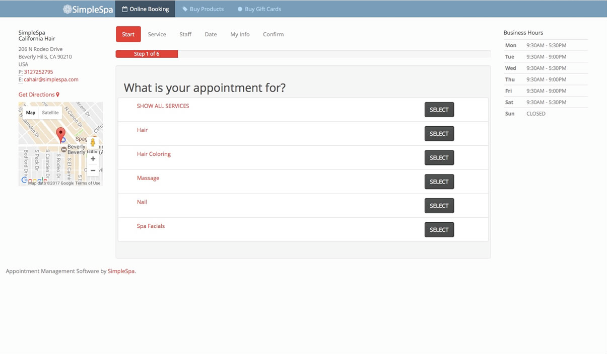 Multiple services can be offered to clients through SimpleSpa