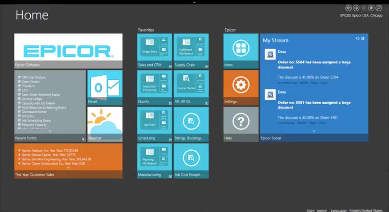 Epicor ERP screenshot: Add and edit tiles with customizable dashboards for each user