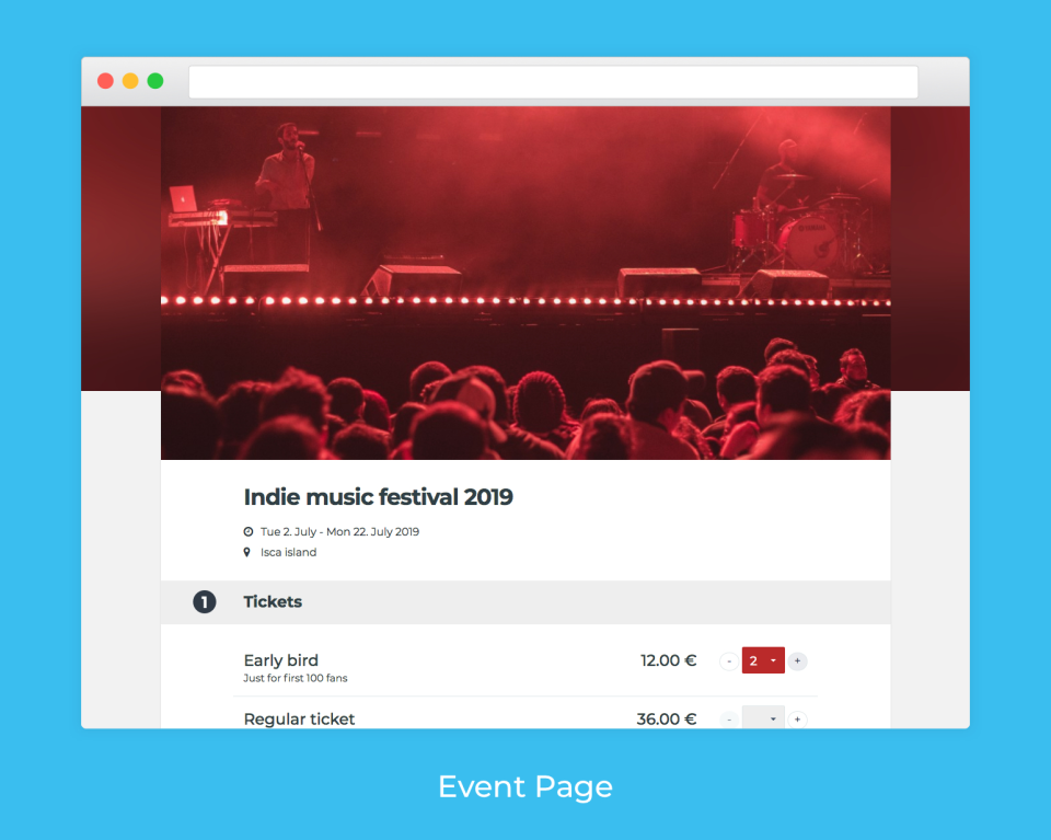 Create an event page and set a cover image, main color and event description, and add a map with directions