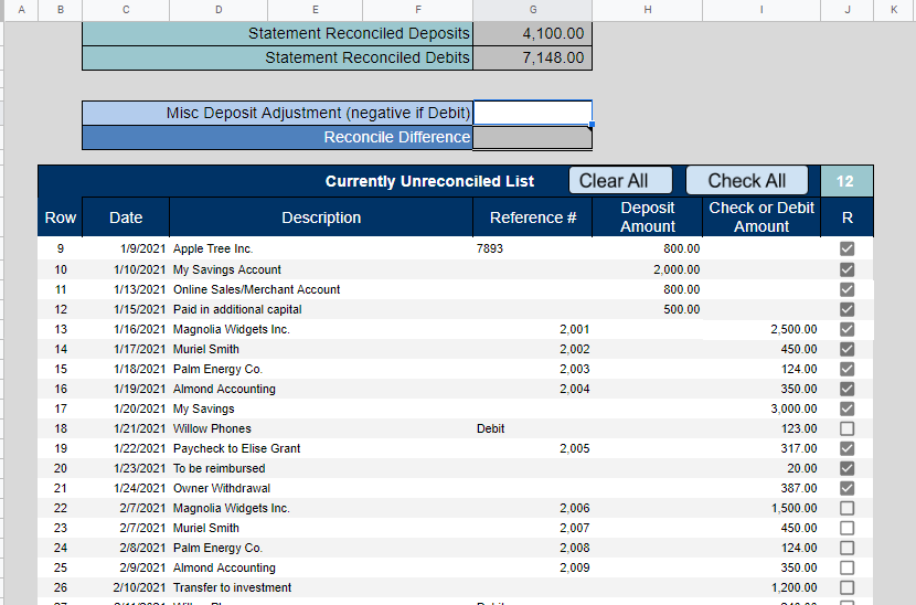 Big E-Z Bookkeeping Software - Bank Reconciliation