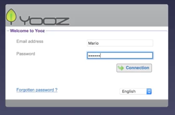 Yooz screenshot: Access Yooz securely with email address and password