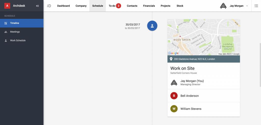 Archdesk bookings screenshot