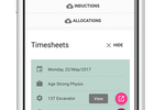 Assignar screenshot: Collect and process timesheets from the construction site with native support for mobile devices via the companion app