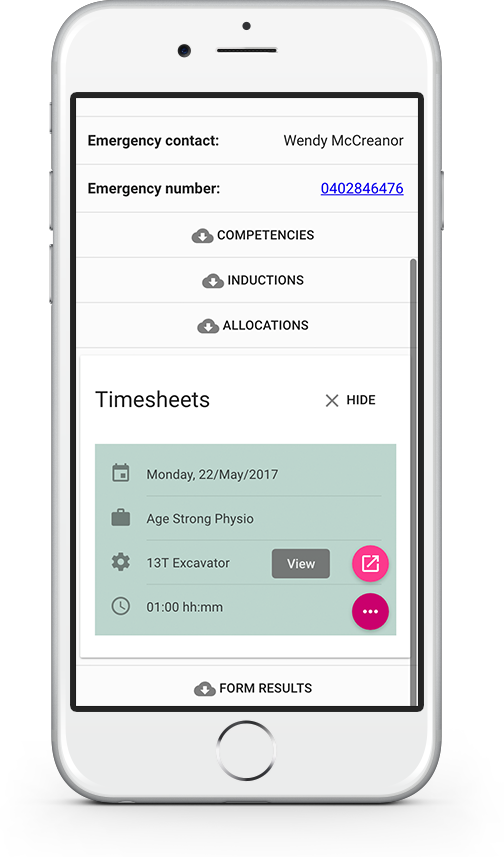 Collect and process timesheets from the construction site with native support for mobile devices via the companion app