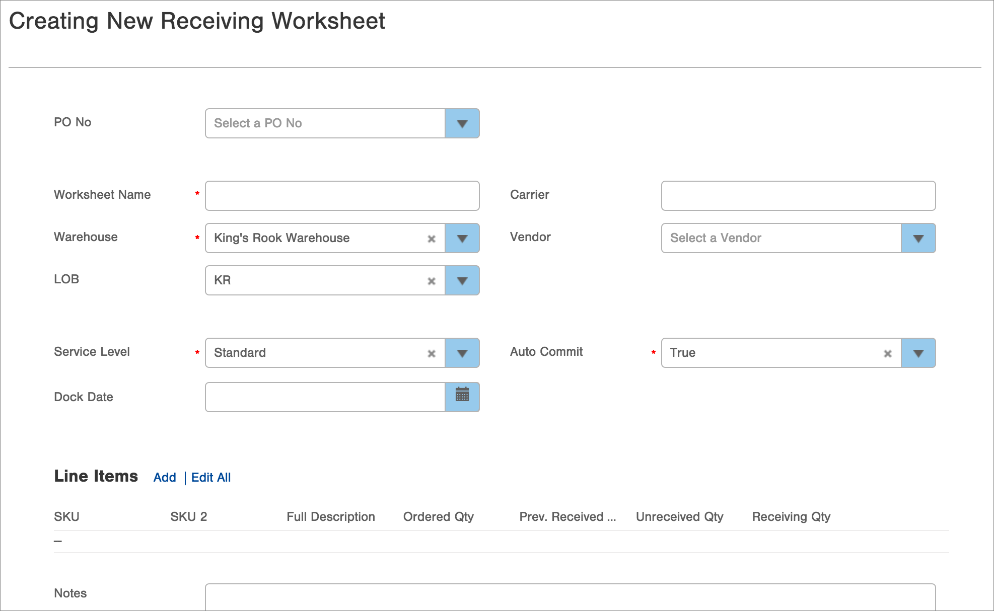 Receiving worksheets can be created