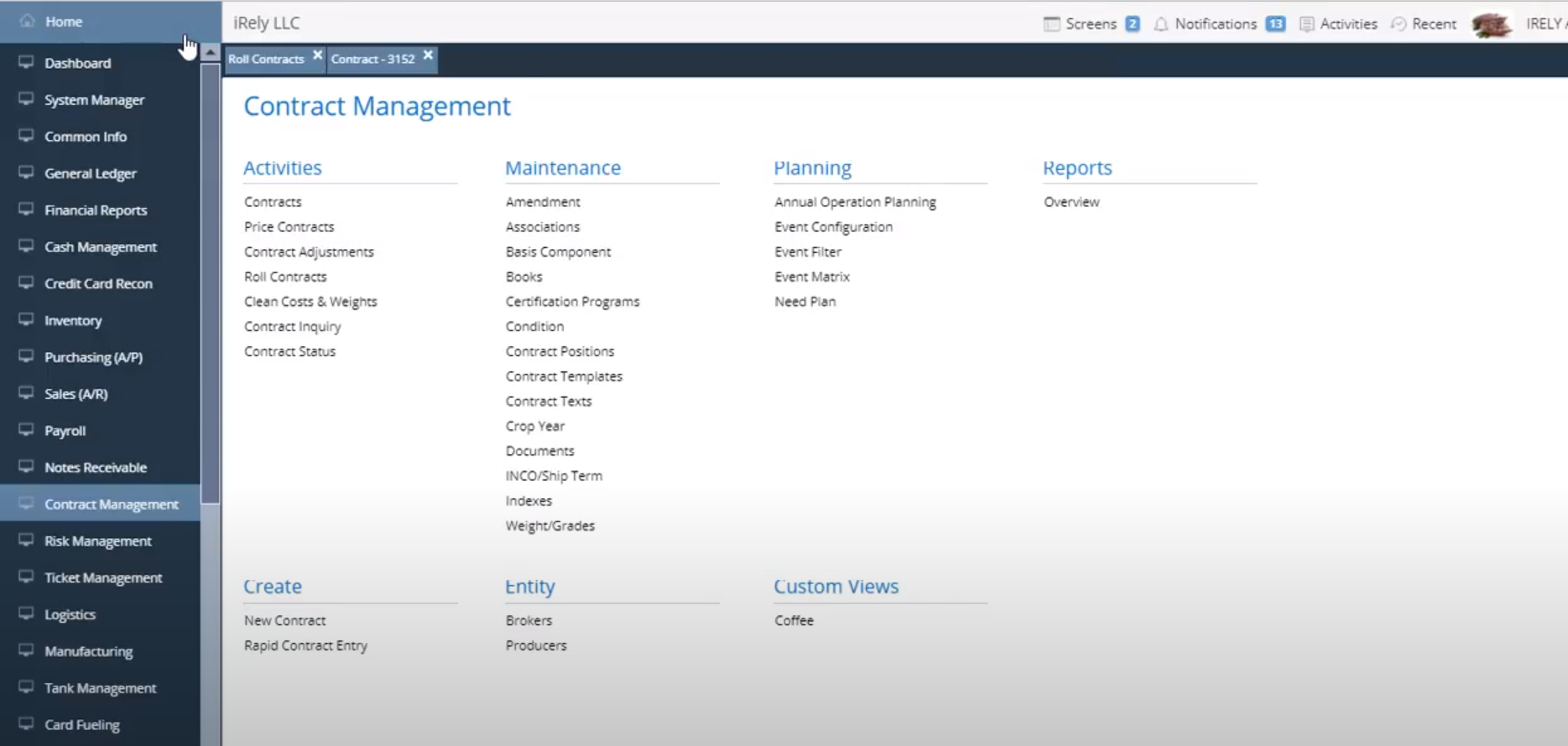 iRely i21 Software - iRely i21 contract management