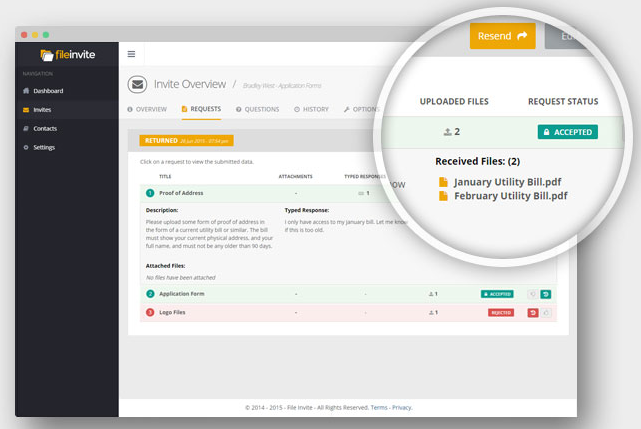 Files and information submitted to FileInvite can be downloaded through the app or synced instead to other online storage spaces