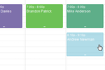 Teachworks screenshot: Schedule changes can be managed quickly within the calendar itself, dragging and dropping lessons around to other days, times, teachers or locations to suit