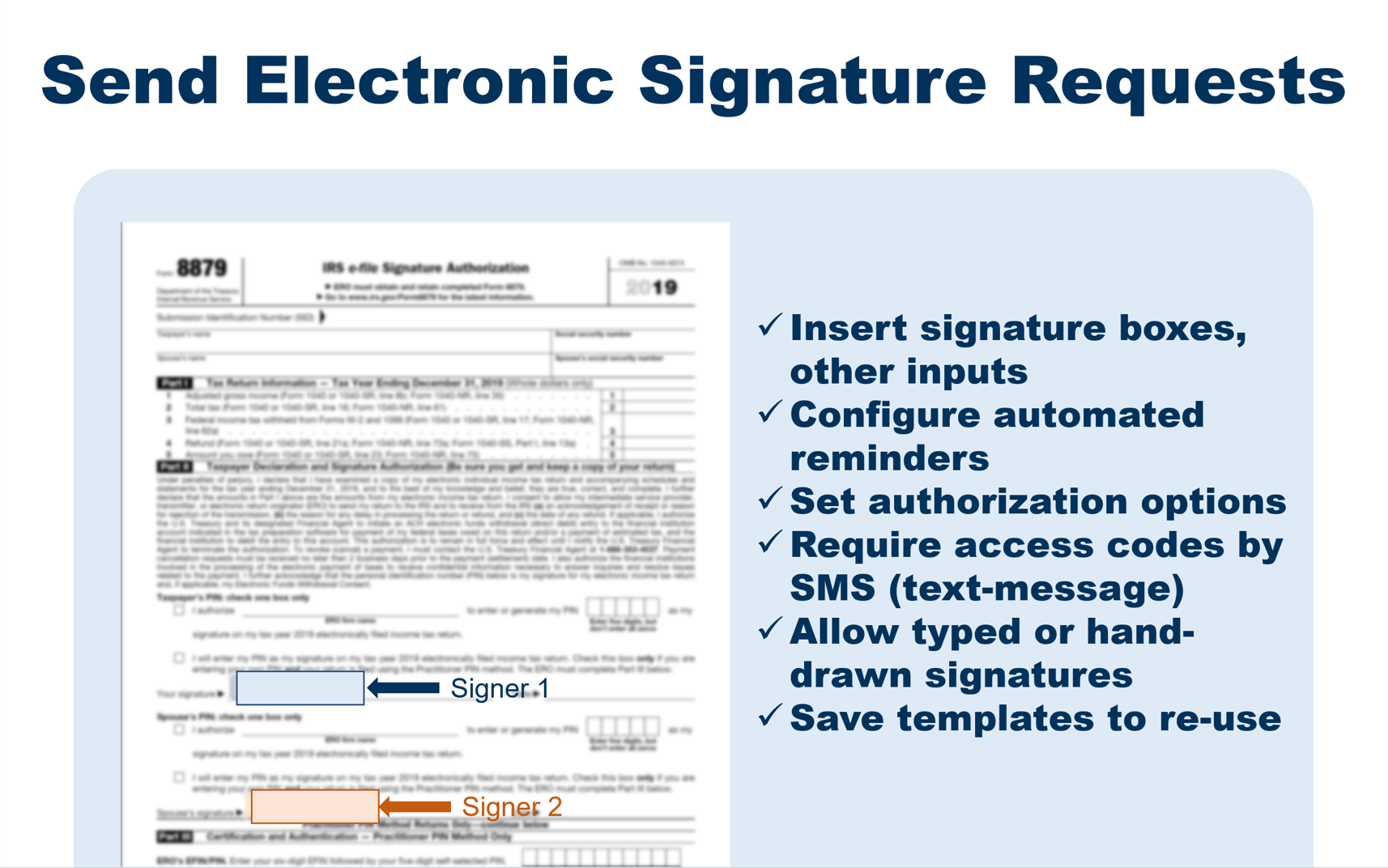 Request electronic signatures with SMS code based identity check.