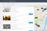TravelPerk screenshot: View hotel search results and locate them on a map