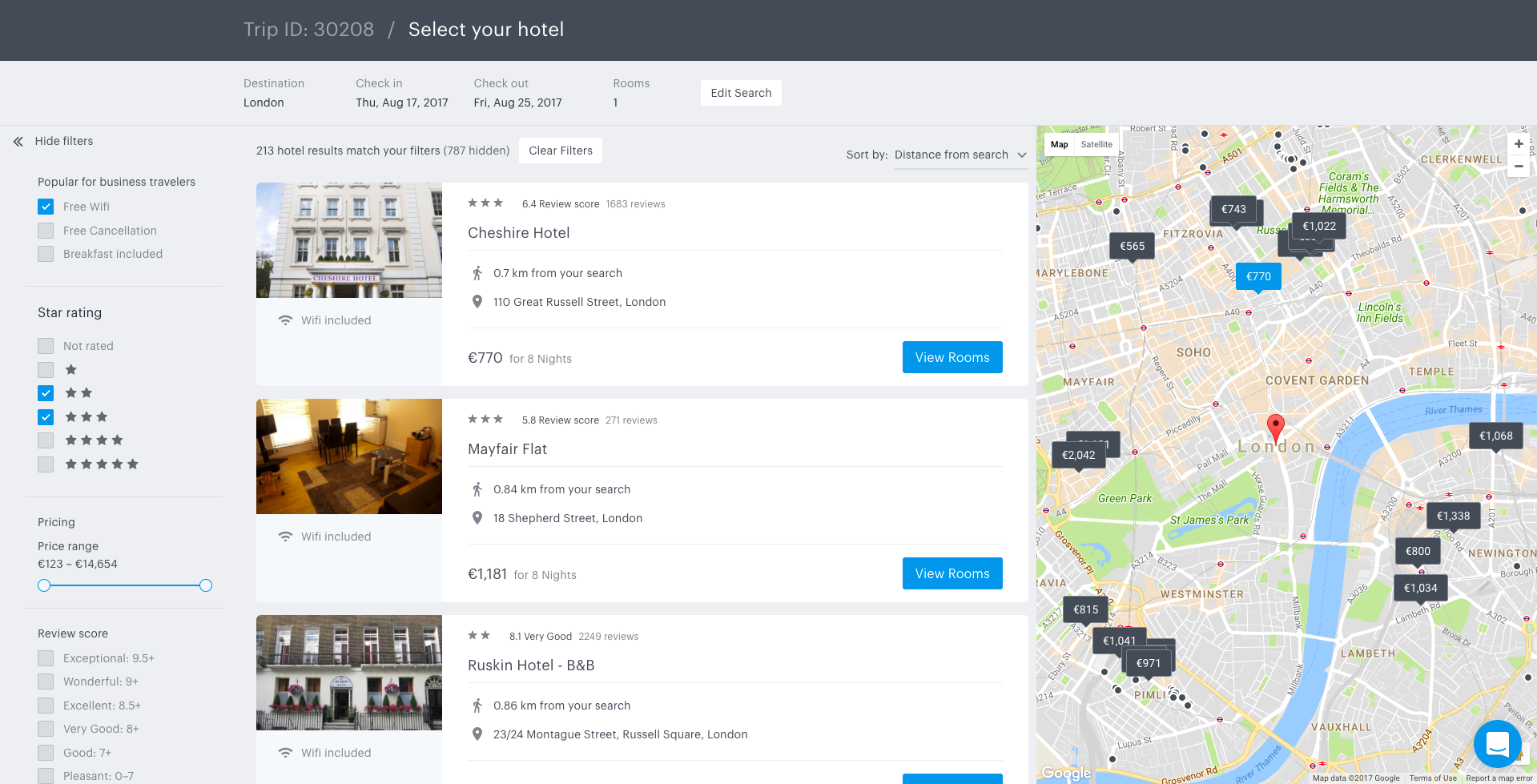 View hotel search results and locate them on a map